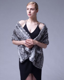 Knitted Chinchilla Fur Shawl Cape 034a