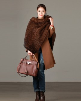 Knitted Mink Fur Poncho