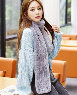 Knitted Rex Rabbit Fur Scarf 849 Gray 1