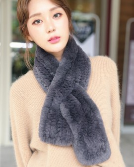 Knitted Rex Rabbit Fur Scarf 850 Gray 1