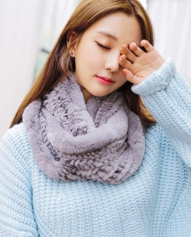 Knitted Rex Rabbit Neck Warmer 852 Gray 1