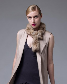Knitted Sable Fur Scarf 059a