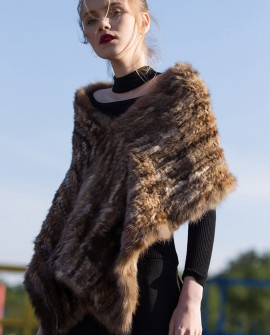 Knitted Sable Fur Shawl 067a