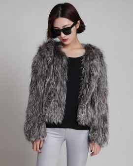 Knitted Silver Fox Fur Cropped Jacket 765f