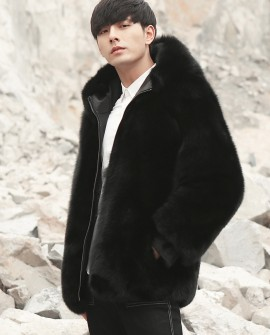 Men's Fox Fur Black Hooded Zip Coat 0008b