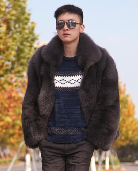 Men's Fox Fur Bomber Jacket 387a