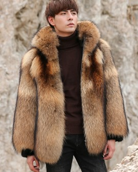 Men's Raccoon Fur Coat 355a