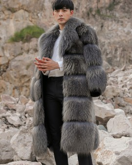 Men's Raccoon Fur Long Coat 399a