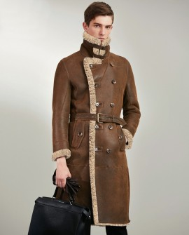 Men's Shearling Sheepskin Long Coat 0058a