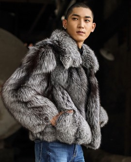 Men's Silver Fox Fur Bomber Jacket 386a
