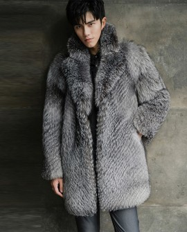 Men's Silver Fox Fur Coat 385a