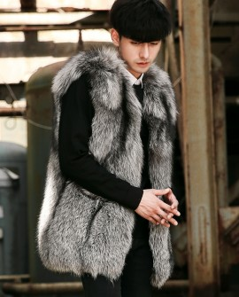 Men's Silver Fox Fur Zipped Vest 0010a
