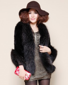 Mink Fur Knitted Jacket with Raccoon Fur Trim jamik35-1