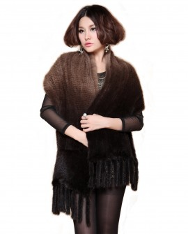 Mink Fur Knitted Shawl camk69_1