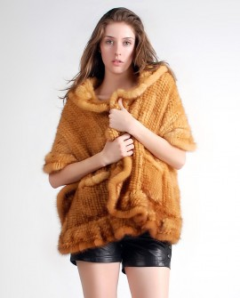 Mink Fur Knitted Shawl, Golden 1