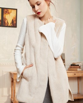 Mink Fur Vest with Cashmere Back 298a