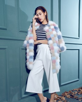 Multicolored Fox Fur Coat 110a
