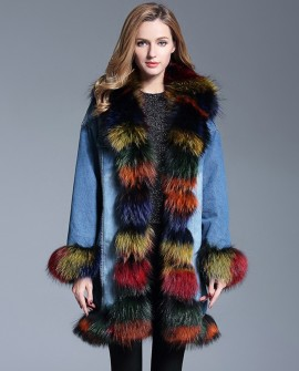 Multicolored Fox Fur Trimmed Wintercoat Jean Parka 0065a