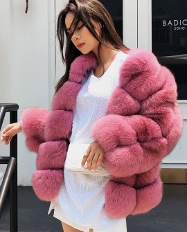 Fox Fur Coat - Pink