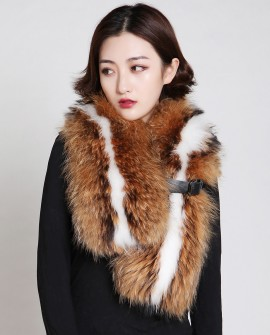 Raccoon Fur Scarf 886 Brown 1