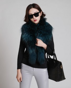 Raccoon Fur Shawl 838 Blue 4