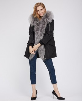 Raccoon Fur Trimmed Hood Down-filled Parka with Detachable Rex Rabbit Fur Liner 253j