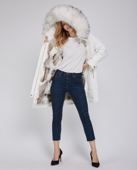 Raccoon Fur Trimmed Hood Parka with Detachable Fox Fur Liner 252a