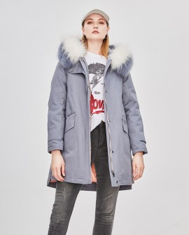 Raccoon Fur Trimmed Hooded Down-filled Winter Coat 0015ca