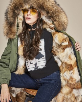 Raccoon Fur Trimmed Hooded Parka with Detachable Fox Fur Liner 134da