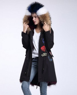 Raccoon Fur Trimmed Hooded Parka with Detachable Fox Fur Liner 946a