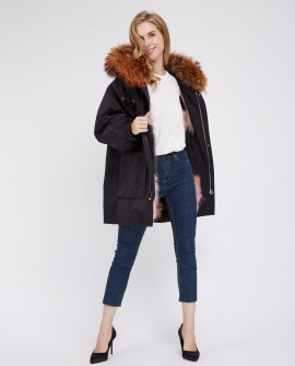 Raccoon Fur Trimmed Hooded Parka with Detachable Raccoon Fur Liner 244b