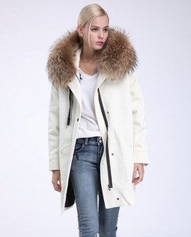 Raccoon Fur Trimmed Hooded Parka with Detachable Sheep Fur Liner