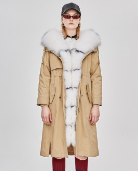 Raccoon Fur Trimmed Hooded Parka with Removable Rabbit Fur Liner 0014a