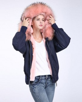 Raccoon Fur Trimming Hooded Bomber Jacket with Detachable Rex Rabbit Fur Liner 948a