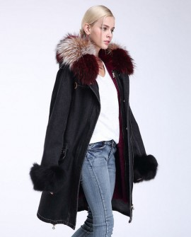 Raccoon Fur Trimming Hooded Parka with Detachable Rex Rabbit Fur Liner 941a