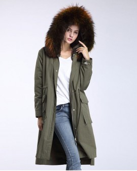 Raccoon Fur Trimming Hooded Parka with Detachable Rex Rabbit Fur Liner 945a