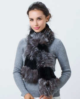Real Silver Fox Fur Rex Rabbit fur Scarf 439a