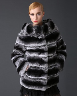 Rex Rabbit Fur Coat with Chinchilla Look 777a