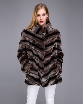Rex Rabbit Fur Coat with Chinchilla Look 951e