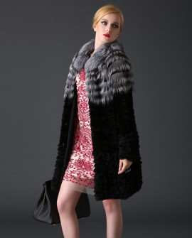 Rex Rabbit Fur Coat with Silver Fox Fur Trim 780a
