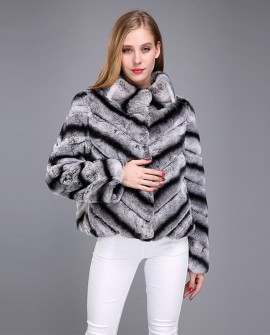 Rex Rabbit Fur Jacket with Chinchilla Look 950a