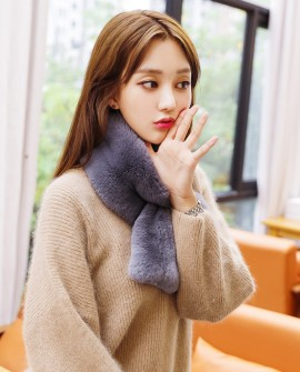 Rex Rabbit Fur Scarf 851 Gray 1