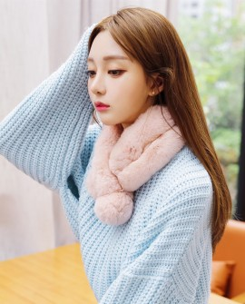 Rex Rabbit Fur Scarf 853 Pink 1