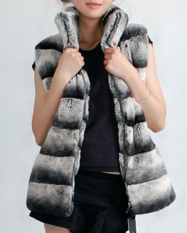 Rex Rabbit fur Vest with Chinchilla Look verr03_1
