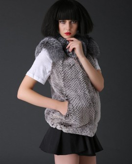 Rex Rabbit Fur Vest with Silver Fox Fur Collar 784a