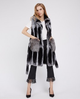 Rex Rabbit Fur Vest with Silver Fox Fur Trim