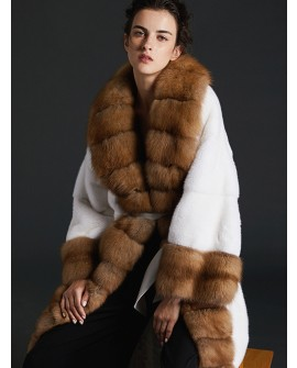 Sable Fur Trimmed Mink Fur Long Coat 0076a