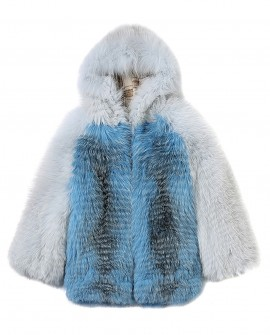 Shadow Blue Frost Fox Fur Hooded Coat in Two-Tone 0021a