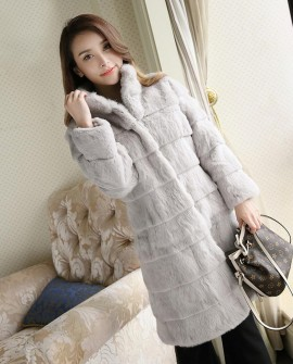 Sheared Rabbit Fur Coat 723 Gray 1
