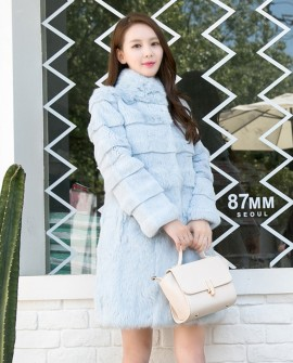 Sheared Rabbit Fur Coat 737 Blue 1